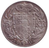 Иоганн II. Монета 5 крон. 1904 год, Лихтенштейн.