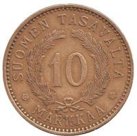 Монета 10 марок. 1928 год, Финляндия.