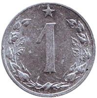 Монета 1 геллер. 1955 год, Чехословакия.