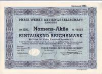 "Акционерное общество ""Phrix-Werke"". Акция 1000 рейхсмарок. Гамбург, 1941 год, Третий рейх."