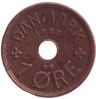 Монета 1 эре. 1927 год, Дания. (N)