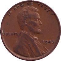 Линкольн. Монета 1 цент. 1945 год (P), США.