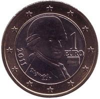 Моцарт. Монета 1 евро, 2011 год, Австрия.