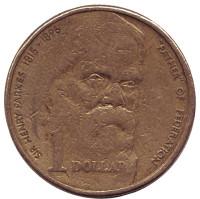 100 лет со дня смерти сэра Генри Паркса. Монета 1 доллар. 1996 год, Австралия.