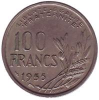 """100 франков. 1955 год """"B"""", Франция."""