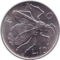 Пчела, ФАО. Монета 10 лир, 1974 год, Сан-Марино.
