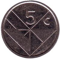 Монета 5 центов. 1992 год, Аруба.
