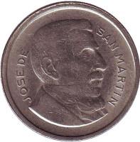 Генерал Хосе де Сан-Мартин. Монета 50 сентаво. 1952 год, Аргентина.
