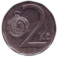 Монета 2 кроны. 1995 год, Чехия.