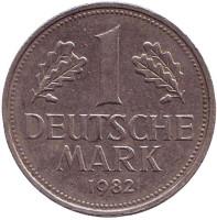 Монета 1 марка. 1982 год (G), ФРГ. Из обращения.