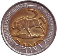 Антилопа гну. Монета 5 рандов. 2006 год, ЮАР.