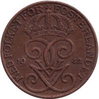Монета 5 эре. 1942 год, Швеция. (Бронза).