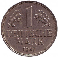 Монета 1 марка. 1957 год (D), ФРГ.