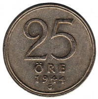 Монета 25 эре. 1944 год, Швеция.
