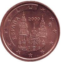 Монета 2 цента, 2000 год, Испания.