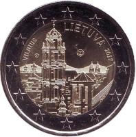 Вильнюс. Монета 2 евро. 2017 год, Литва.