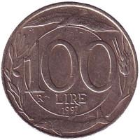 Монета 100 лир. 1997 год, Италия.