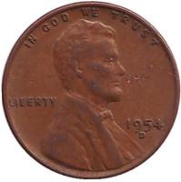 Линкольн. Монета 1 цент. 1954 год (D), США.