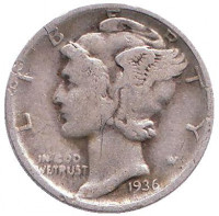 Меркурий. Монета 10 центов. 1936 год, США. Монетный двор D.