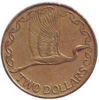 Белая цапля. Монета 2 доллара. 2002 год, Новая Зеландия.