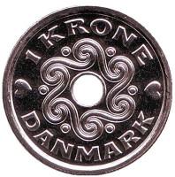 Монета 1 крона. 2017 год, Дания.