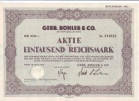 "Акционерное общество ""Gebr. Bohler & Co"". Акция 1000 рейхсмарок. Вена, 1942 год, Третий рейх."