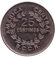 Монета 25 сантимов. 1980 год, Коста-Рика.