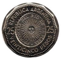Монета 25 песо. 1965 год, Аргентина.