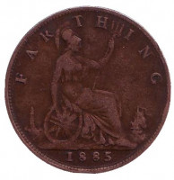 Монета 1 фартинг. 1885 год, Великобритания.