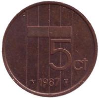 5 центов. 1987 год, Нидерланды.