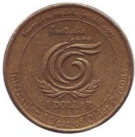 Международный год пожилых людей. Монета 1 доллар. 1999 год, Австралия.