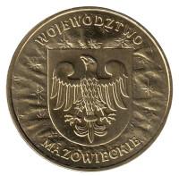 Мазовецкое воеводство. Монета 2 злотых, 2004 год, Польша.