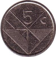 Монета 5 центов. 1997 год, Аруба.