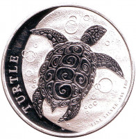 Черепаха. Монета 2 доллара. 2016 год, Ниуэ.