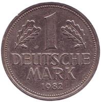 Монета 1 марка. 1982 год (D), ФРГ. Из обращения.