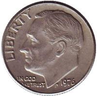 Рузвельт. Монета 10 центов. 1976 (P) год, США.