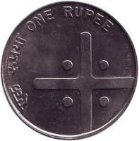 "Монета 1 рупия. 2005 год, Индия. (""*"" - Хайдарабад)"