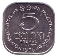 Монета 5 центов. 1978 год, Шри-Ланка. UNC.