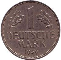 Монета 1 марка. 1959 год (G), ФРГ.