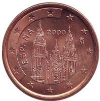 Монета 5 центов. 2000 год, Испания.