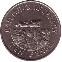 Дольмен. Монета 10 пенсов, 1986 год, Джерси.