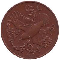 Птица. Монета 2 пенса. 1980 год (AA), Остров Мэн.