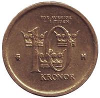 Монета 10 крон, 2005 год, Швеция.