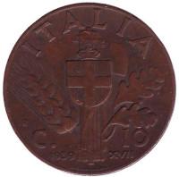 Монета 10 чентезимо. 1939 год, Италия. (Медь)