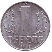 Монета 1 пфенниг. 1968 год, ГДР.