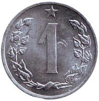 Монета 1 геллер. 1986 год, Чехословакия. Из обращения.