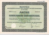 Акционерное общество г. Мансфельд. Горная промышленность. Акция 100 рейхсмарок. 1933 год, Веймарская республика.