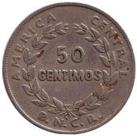 Монета 50 сантимов. 1937 год, Коста-Рика.