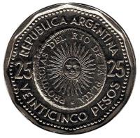 Монета 25 песо. 1966 год, Аргентина.