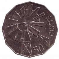 Год отдаленных районов Австралии (ветряная мельница). Монета 50 центов. 2002 год, Австралия.